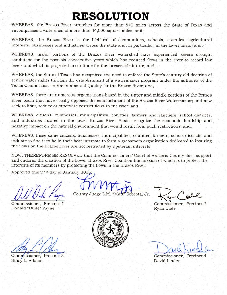Brazoria County Resolution 1-27-2015