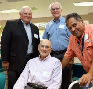 Back Row Left to Right: Alvin Mayor Paul Horn and Tom Stansel with the Alvin Museum Society Front Row Left to Right: Doyle Swindell, a member of the Alvin Community College Board of Regents, and Juan Hernandez with the Gulf Coast Water Authority